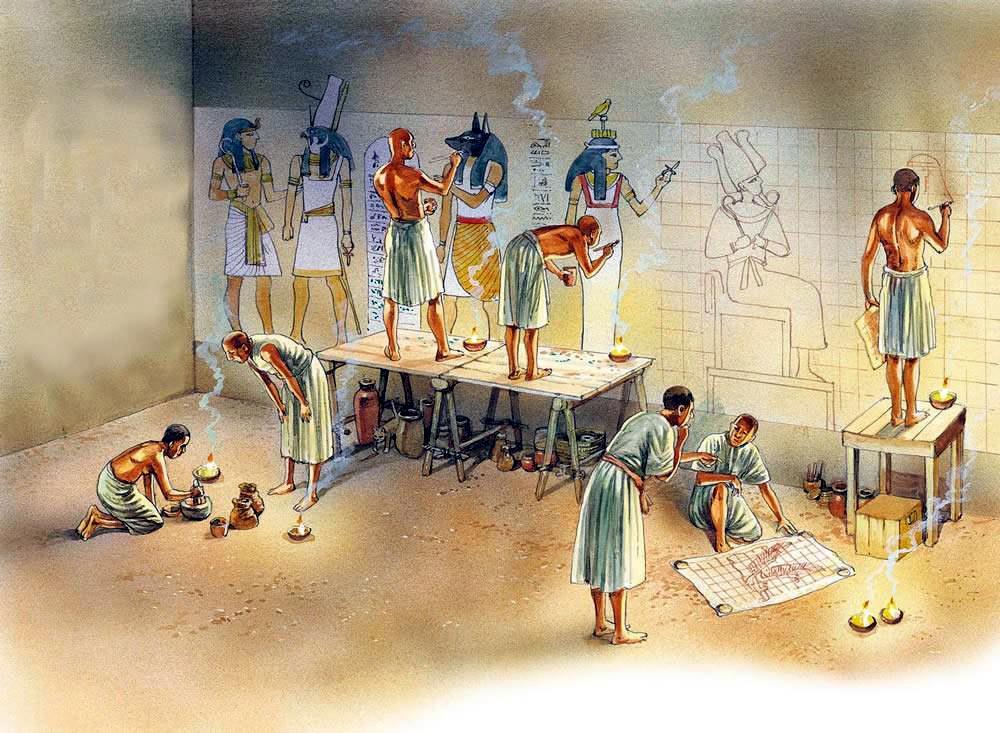 Художники за росписью стен гробницы