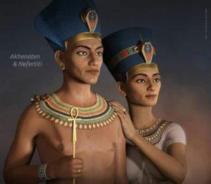Фараон Эхнатон и царица Нефертити