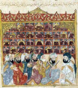13 век иллюстрация библиотеки в Багдаде