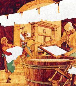 Изготовление бумаги вручную на бумажной фабрике в 1580-х годах