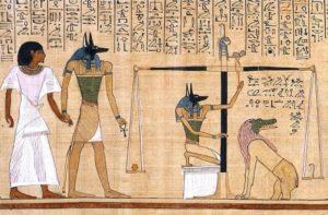 Текст на саркофаге. Весы Истины, Анубис и Амат.
